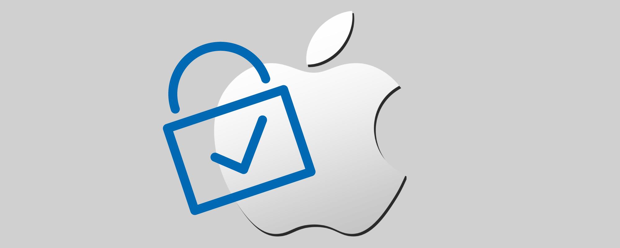 Ein Apple-Logo mit einem Vorhängeschloss davor